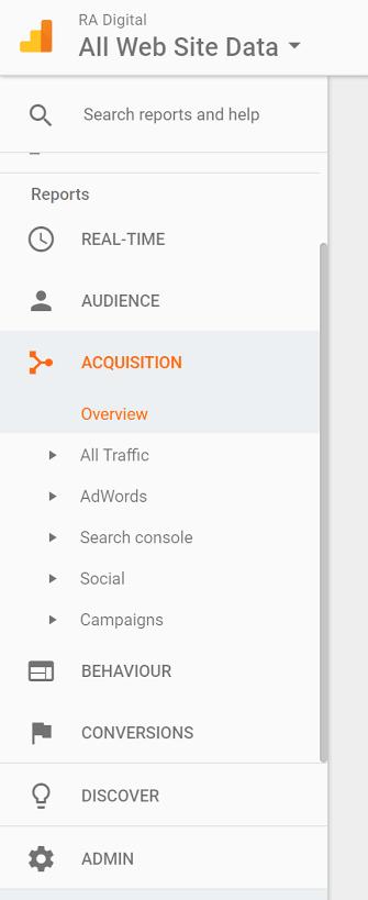 Google Analytics Acquisition Report | RA Digital